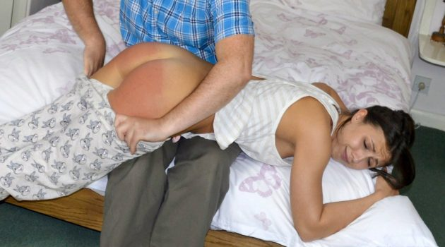 Daddy gives Belle a Spanking