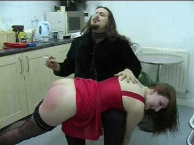 A man who enjoys his work spanking Pandora!